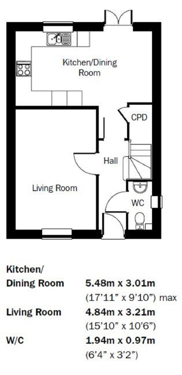 The Bluebell ground floor floorplan