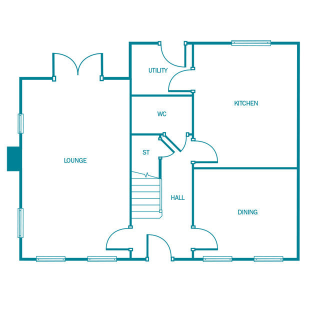 The Kenilworth ground floor floorplan