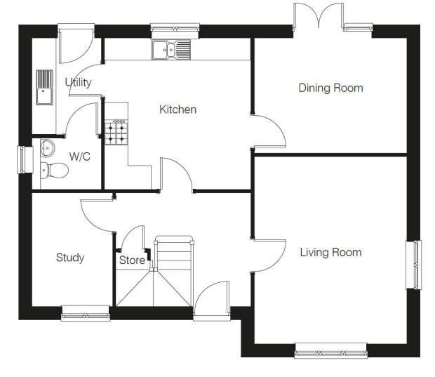 The Rutherford ground floor floorplan