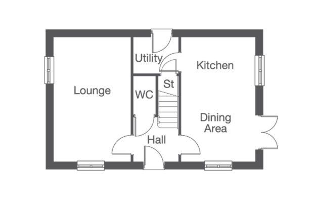 The Oakwood  ground floor floorplan