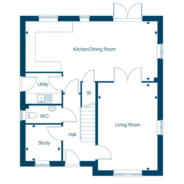 The Oakford ground floor floorplan