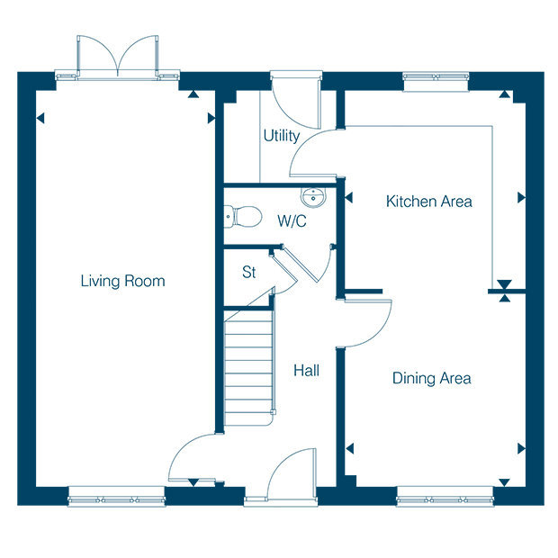 The Hemsworth ground floor floorplan